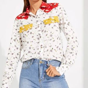 Button Up Collared Top with Pockets